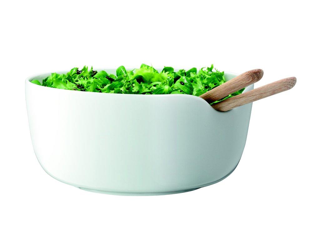 14471 lsa dine salatova porcelanova misa bila o24cm s dubovym priborem