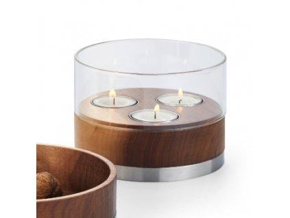 353004 353005 353006 JULIE designer windlicht walnussholz teelichthalter glas 3