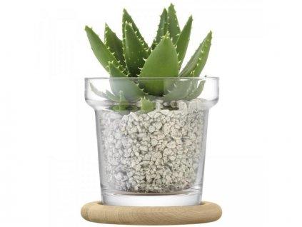 27380 plant skleneny kvetinac s dubovou podlozkou 16 5cm lsa handmade