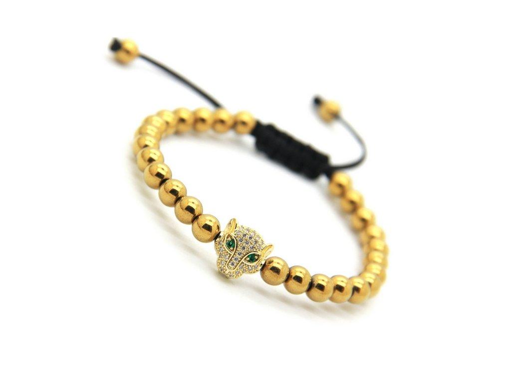 Zlatý Shamballa náramek s leopardem