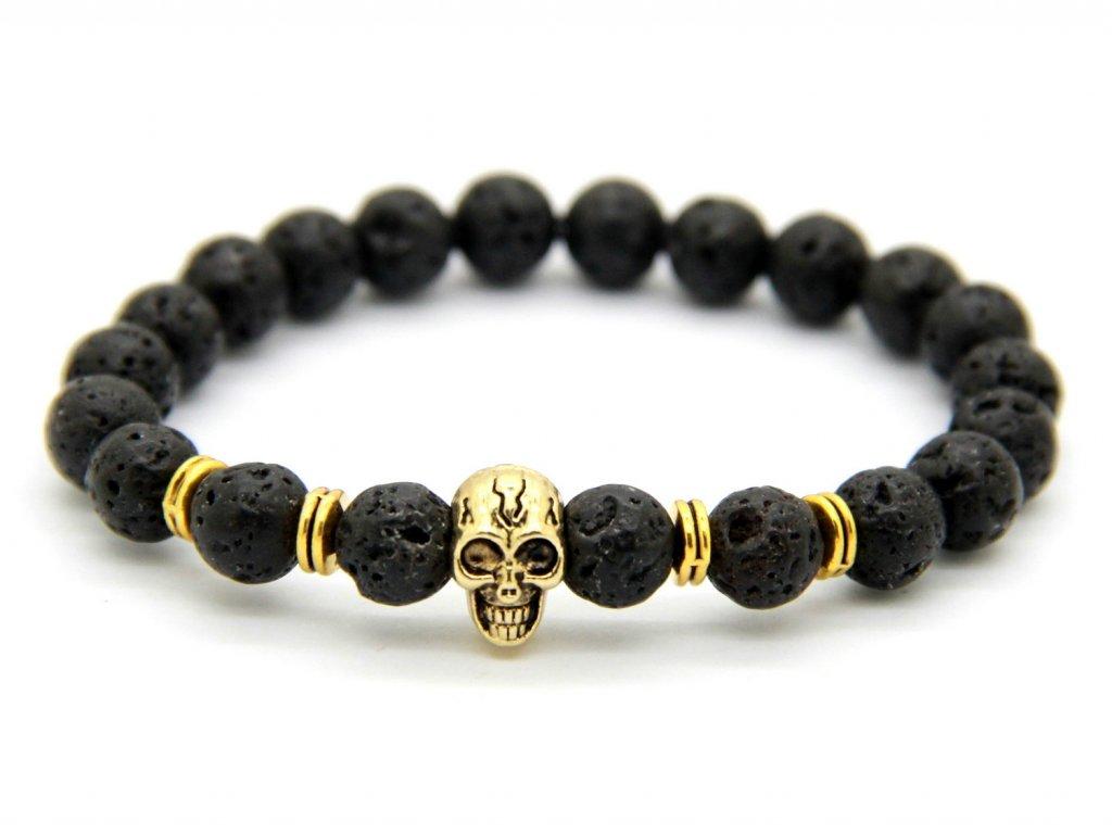 Lebka zlatý náramek s lávovými kameny