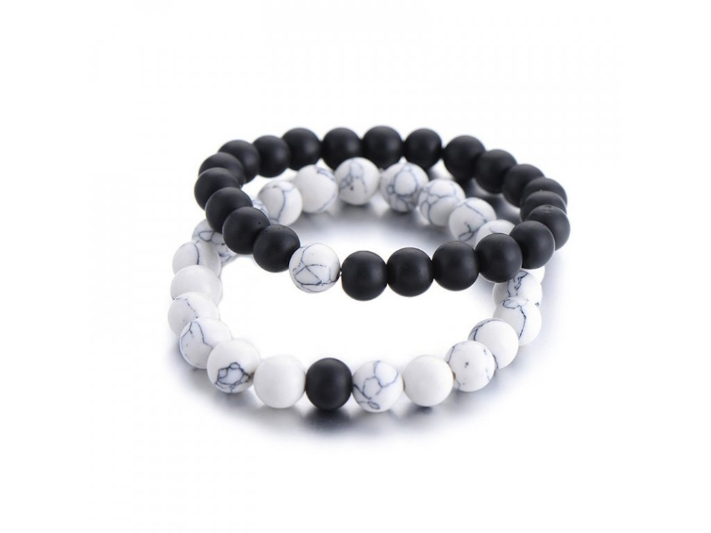 2Pcs Set Couples Distance Bracelet Classic Natural Stone White and Black Yin Yang Beaded Bracelets for (2)