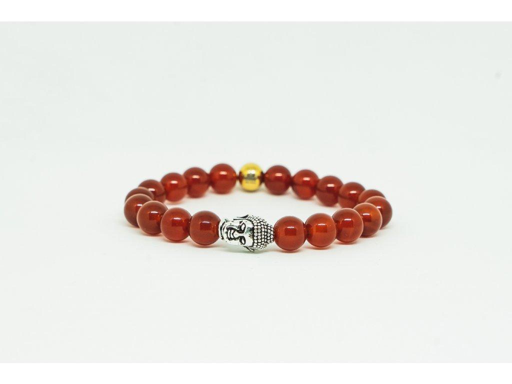 Dámský náramek s Buddhou a červenými kameny