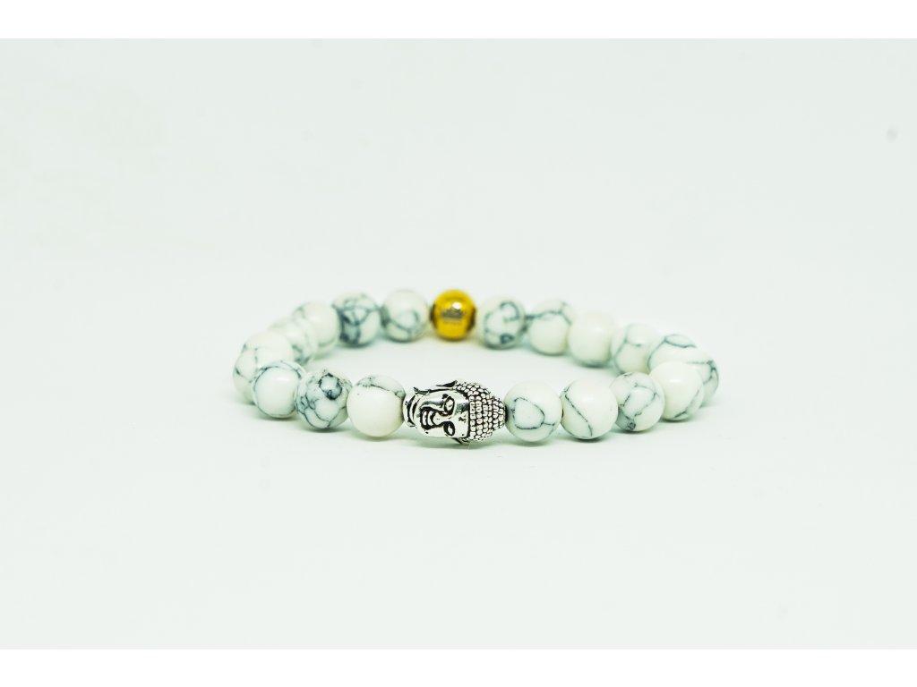 Dámský náramek s Buddhou a howlitovými kameny