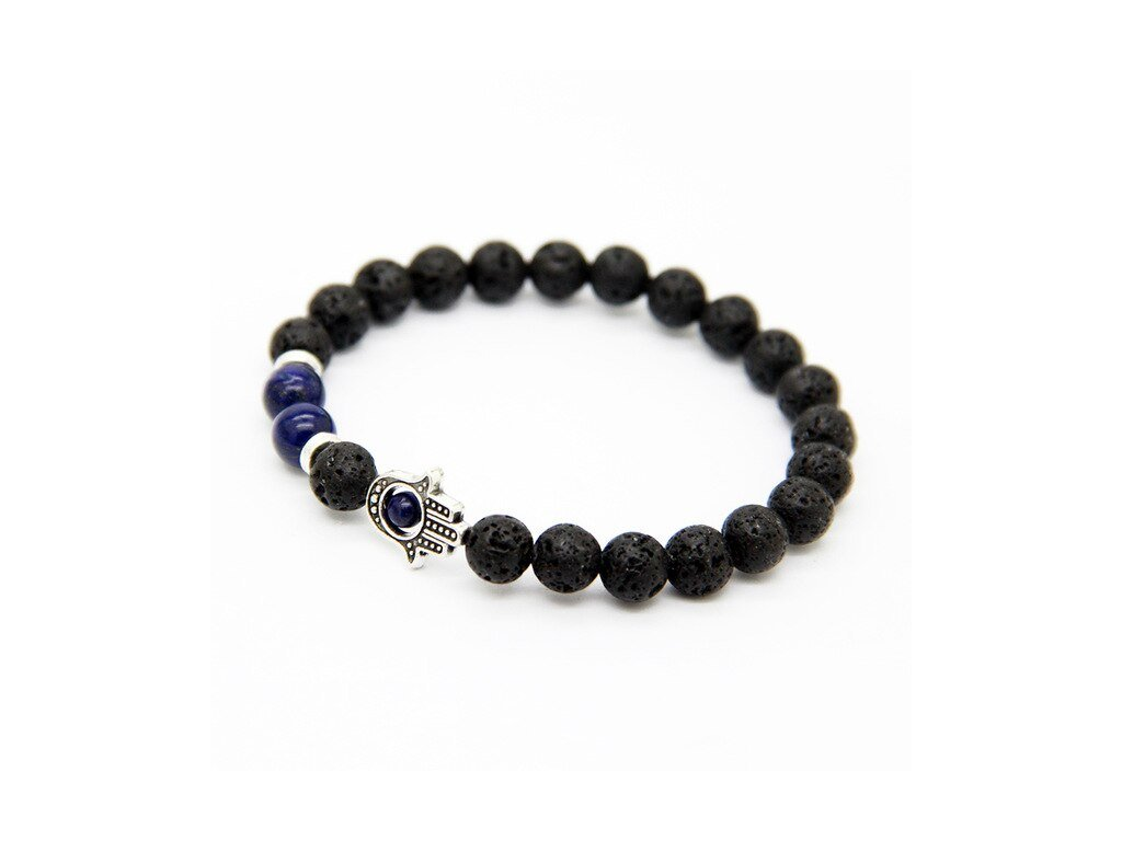 Ailatu New Design Men s Beaded Protection Hamsa Bracelets Made By Lava Stone and Picasso Lapis.jpg 640x640