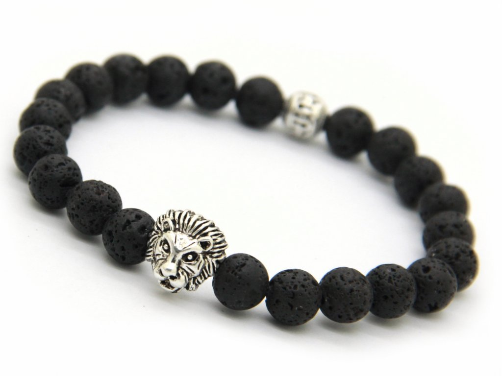Stříbrný náramek se lvem a lávovými kameny