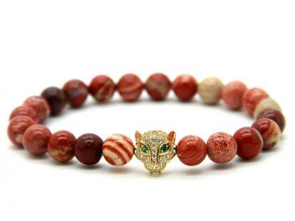 Rudý náramek s leopardem