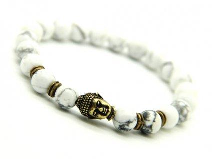 Snowflake Buddha náramek s howlitovými kameny