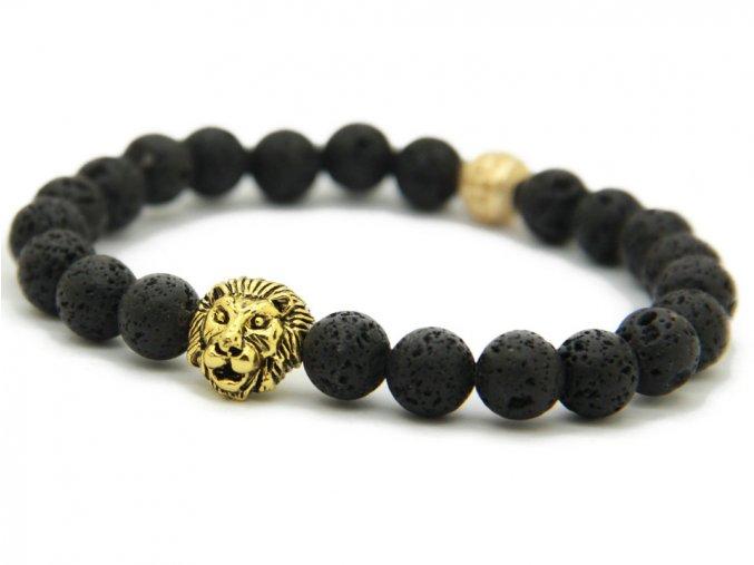Zlatý náramek se lvem a lávovými kameny