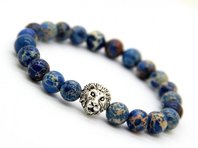 Premium modrý náramek se lvem