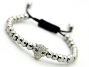 Stříbrný Shamballa náramek s leopardem