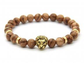 Zlatý dřevěný náramek se lvem
