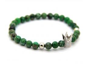 Decorus stříbrný crown náramek zelený22