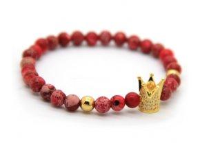 Decorus zlatý crown náramek červený2