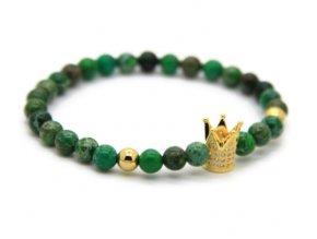 Decorus zlatý crown náramek zelený22