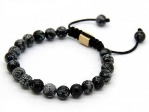 Shamballa náramek s kameny obsidiánu