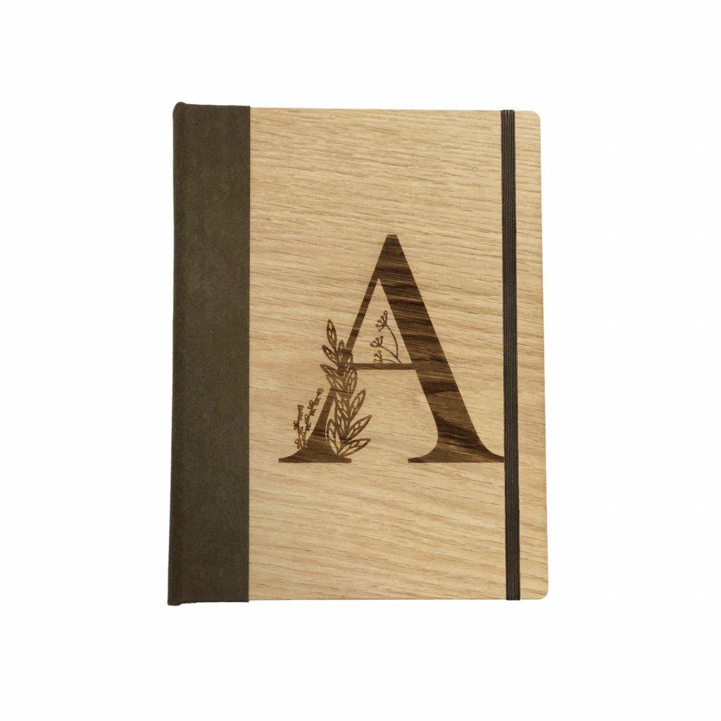Dřevěný zápisník písmeno na přání dub