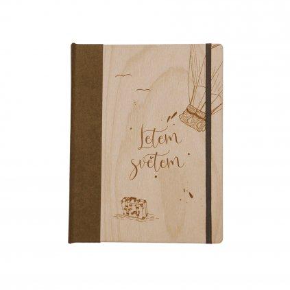 Dřevěný zápisník Letem světem