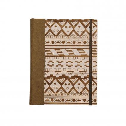 Dřevěný zápisník Indiánský vzor