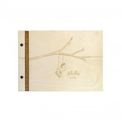 Dřevěné fotoalbum botičky A4