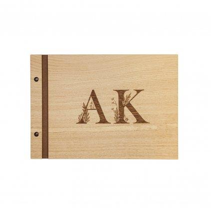 Dřevěné fotoalbum iniciály A4