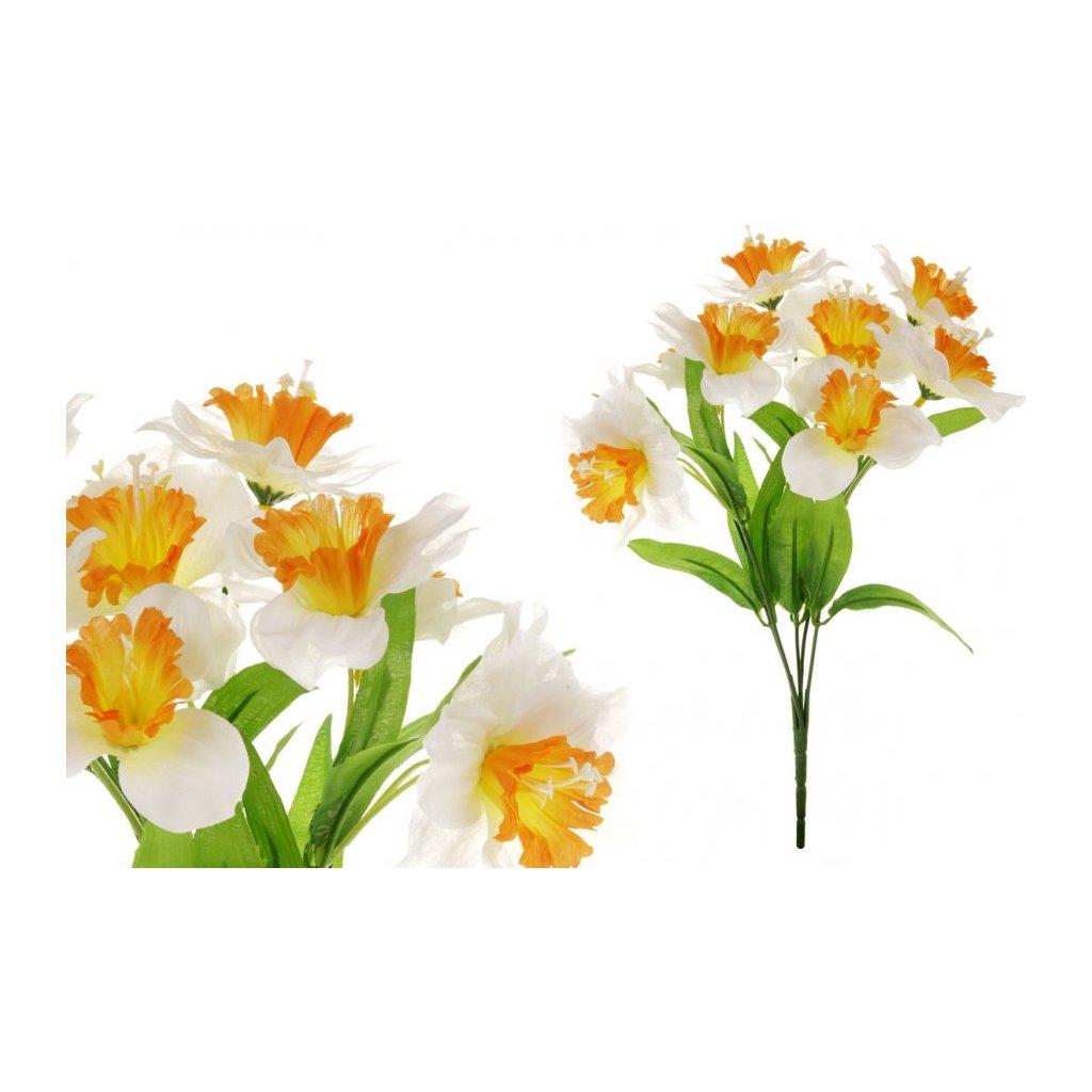 Narcis umělá květina bílo oranžová
