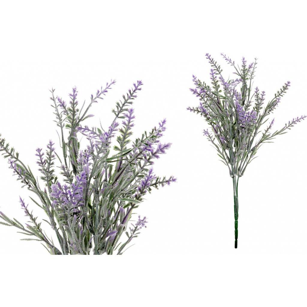 Levandule, barva fialová. Květina umělá plastová