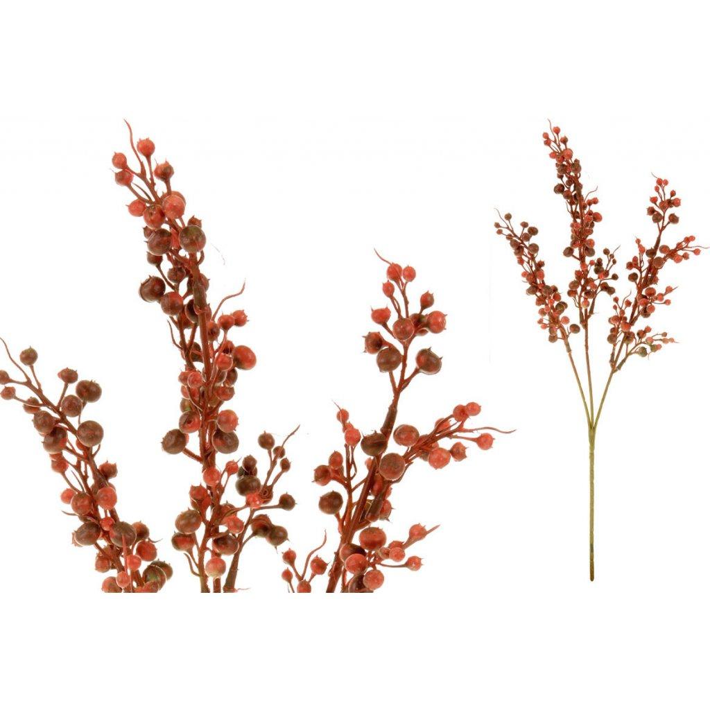 Květina umělá plastová. Barva červená temná