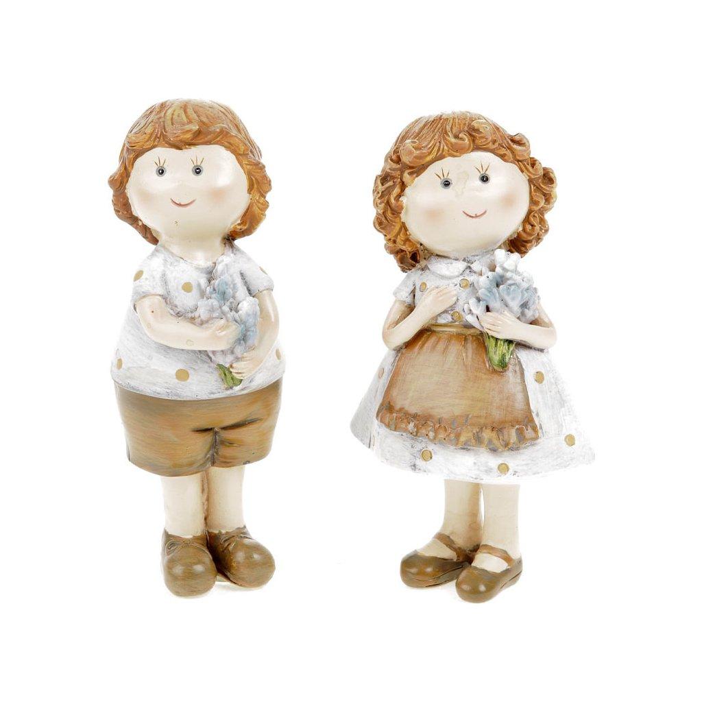 Dívka a chlapec z polyresinu sada 2 ks