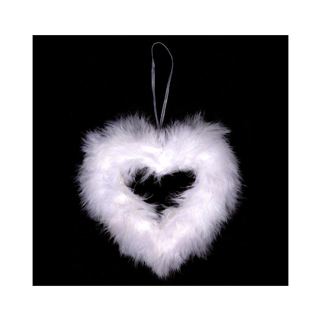 Srdce dekorace z peří barva bílá