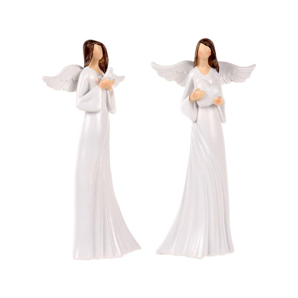 Anděl bílé šaty se srdcem a holubicí  sada 2 ks