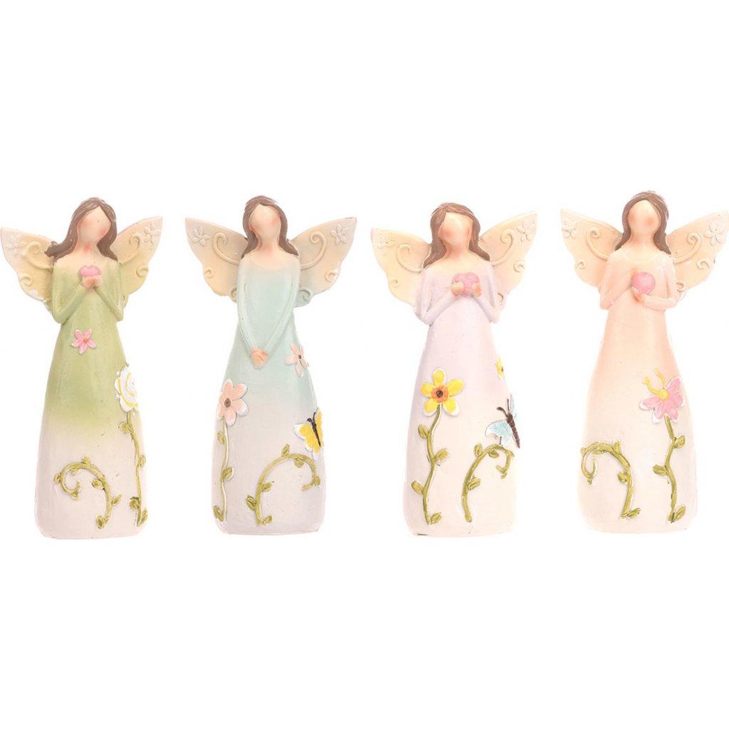 Anděl s květinami na šatech balení 4 kusy