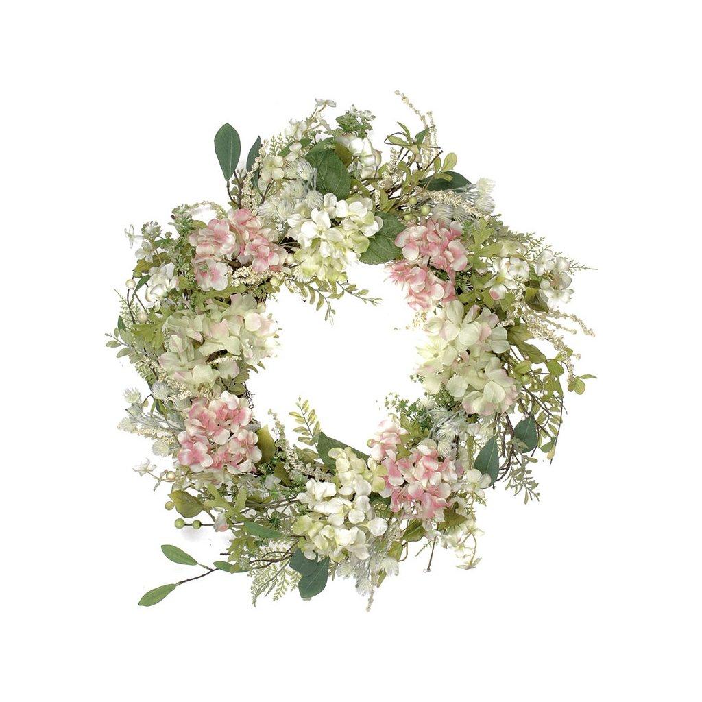 Věnec květinový hortenziový s proutěným základem
