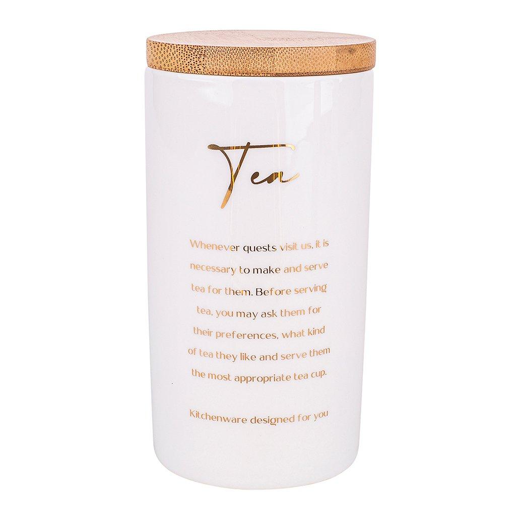 Bílá dóza na čaj s nápisy a bambusovým víkem
