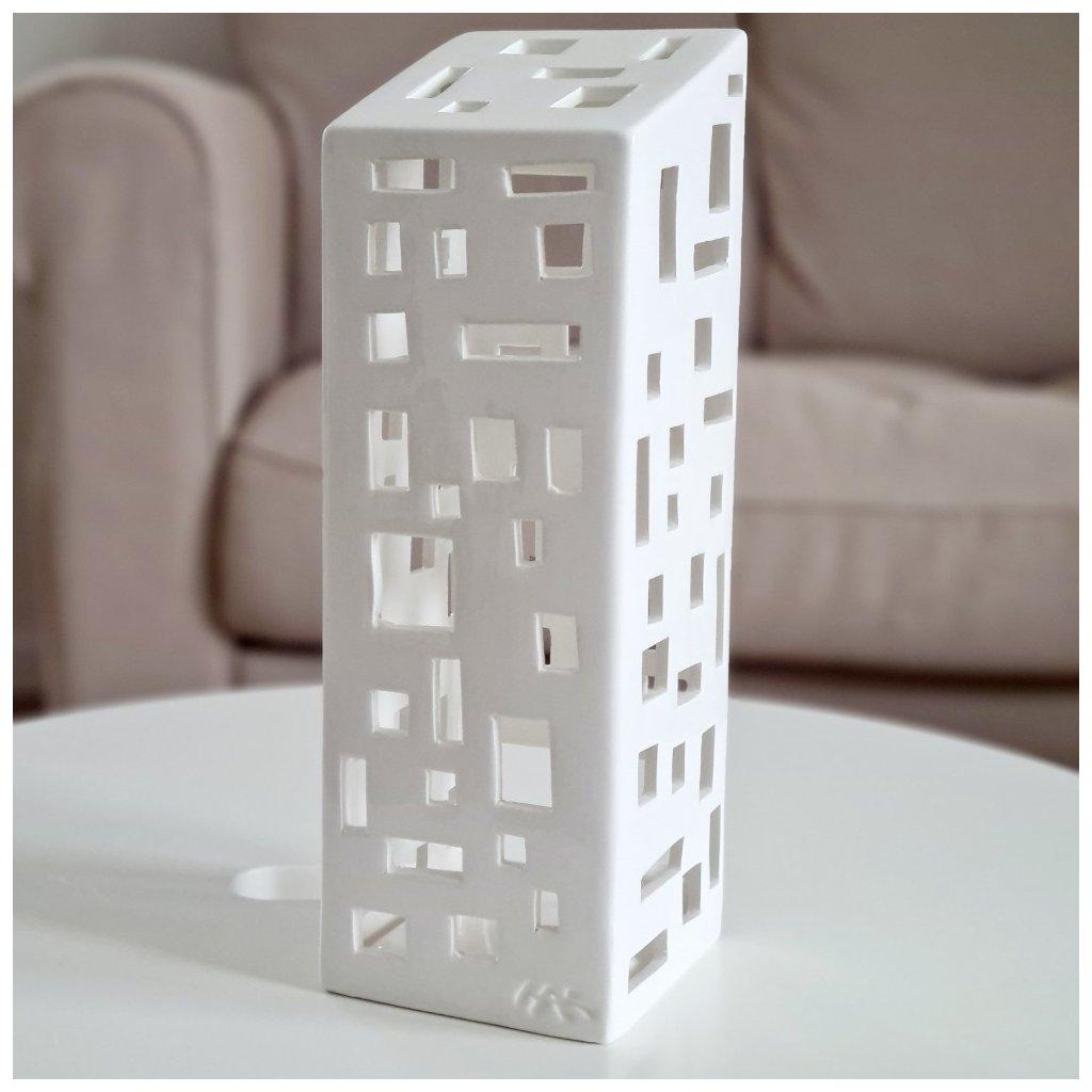 Bílý keramický svícen KÄHLER Urbania Lighthouse High Building