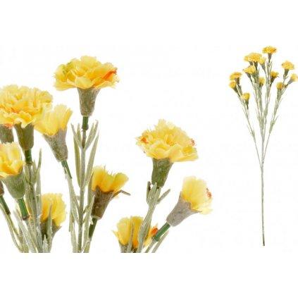 Mini Karafiát, barva žluto-oranžová. Květina umělá.