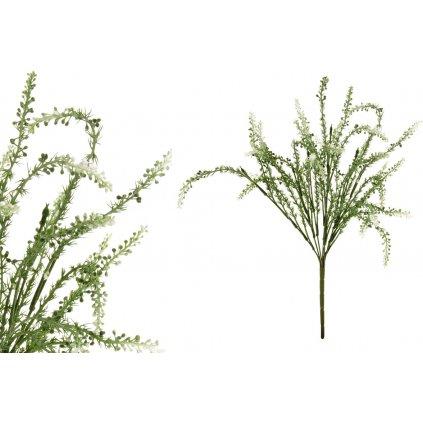 Vřes, barva zeleno-bílá. Květina umělá plastová.