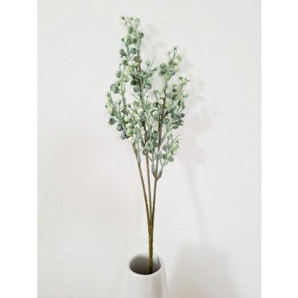 Květina umělá plastová. Barva zeleno-bílá