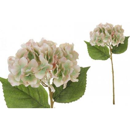 Hortenzie, barva růžovo-zelená. Květina umělá.