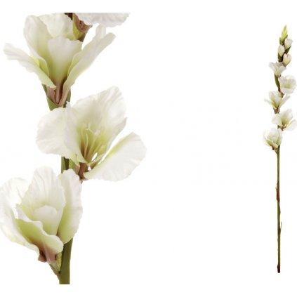 Gladiola, barva bílá. Květina umělá.