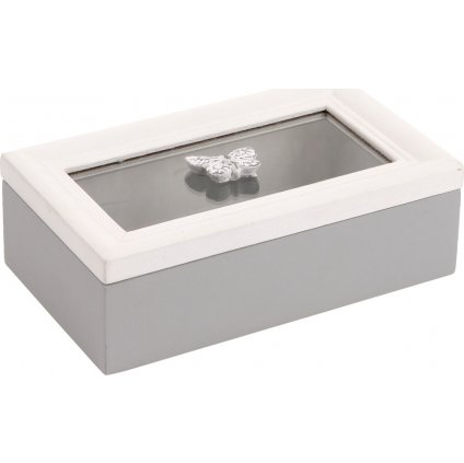 Krabička se sklem dřevěná