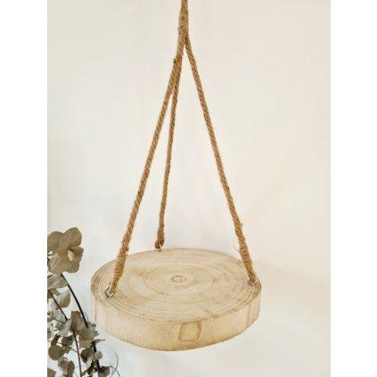 Závěsný dřevěný podnos s přírodním provazem