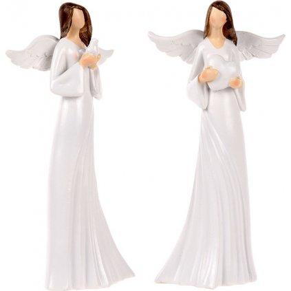 Anděl bílé šaty se srdcem a holubicí  sada 2 ks  0000