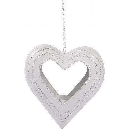 Srdce kovové svícen na čajovou svíčku kovová dekorace na pověšení