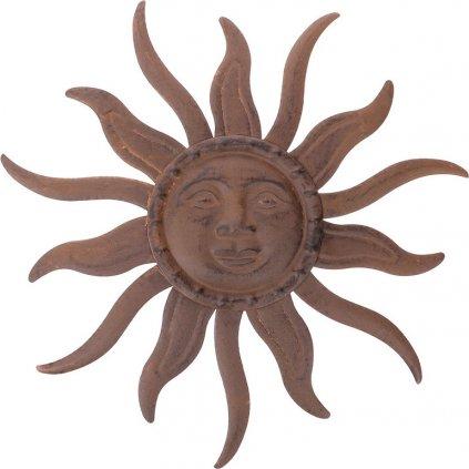 Slunce kovová dekorace na zavěšení barva hnědá