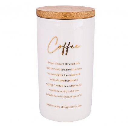 Bílá dóza na kávu s nápisy a bambusovým víkem