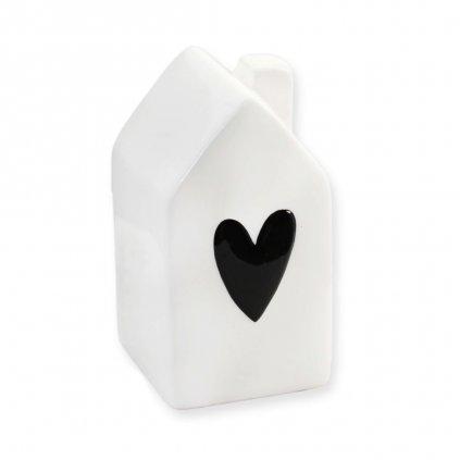 keramicky domek bily s cernym srdcem mensi