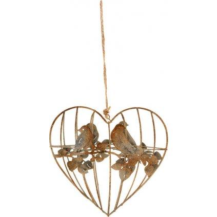 Srdce dekorace z kovových drátků na zavěšení