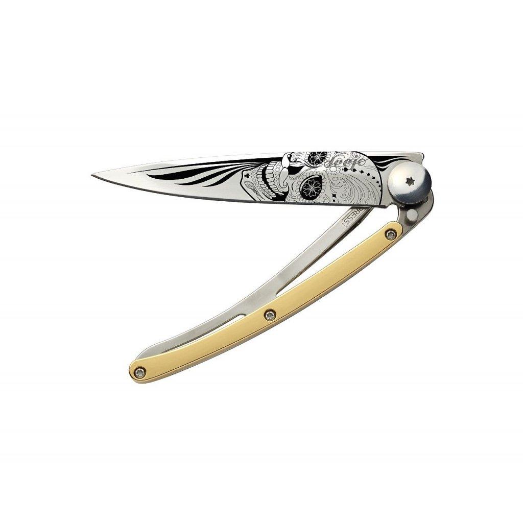 Luxusní kapesní nůž Deejo GOLD Tattoo 27g 23kt yellow gold Latino Skull