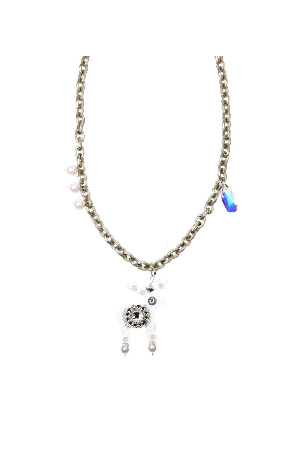 Bílý jelení náhrdelník